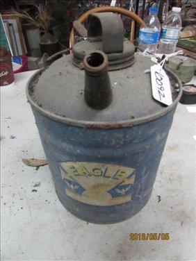 """Eagle Blue Coal Oil Can 8"""""""