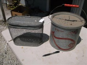 2 Vintage Bait Buckets-anglers Choice My Buddy & Faris