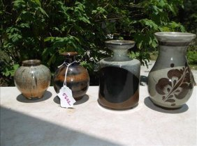 """4 Stoneware Vases-up To 5 3/4""""h"""