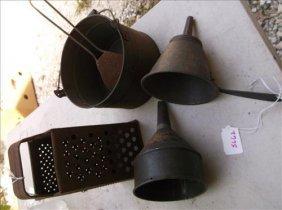 Assortment Of Rusty Kitchen Ware-funnels Etc