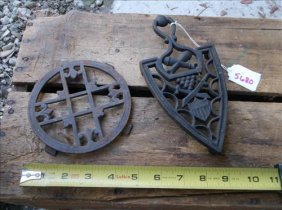 2 Unmarked Cast Iron Trivets-round & Iron Shaped