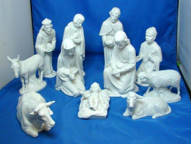13: Dresden 10 pc. White Porcelain Nativity Set : Lot 13