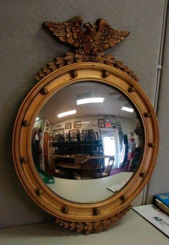153 Round Gilt Wood Mirror With Eagle On Top Lot 153