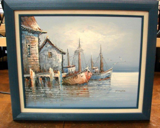 196 framed oil painting sailing ships signed florence for Oil paint price