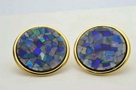 14k Yg Mosaic Opal Earrings