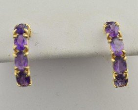 14k Yg  Amethyst  Pierced Earrings