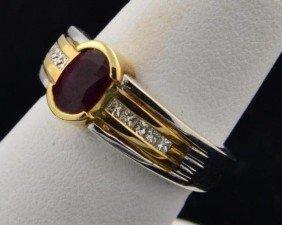 14k Two Tone Ruby & Diamond Ring