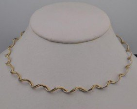 14k Two Tone  Swirl  Necklace