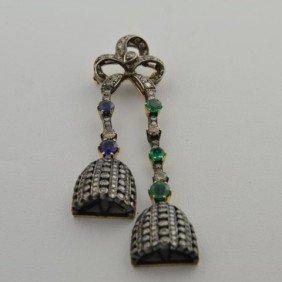 14k  Yg & Silver  Antique  Diamond Pin