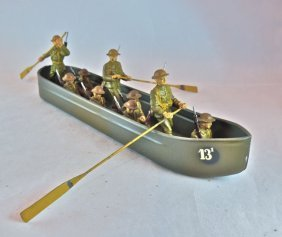 Scarce Lineol Us Pontoon Boat+9 Soldiers
