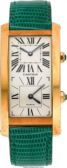 Cartier Fine Gold Tank Cintree Double Time Zone
