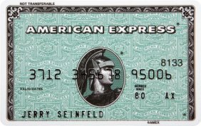 American Eagle Credit Card Sign In >> 51168: Jerry Seinfeld Prop American Express Card. A pro ...