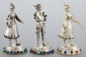 THREE GERMAN SILVER AND HARDSTONE FIGURES  Maker
