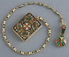 A CONTINENTAL 18K GOLD AND ENAMEL VINAIGRETTE WI