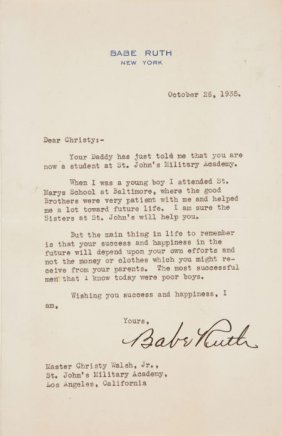 1935 Babe Ruth Signed Letter Discussing His St.