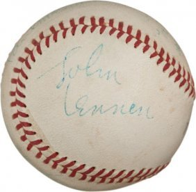 1965 The Beatles Signed Baseball From Shea Stadi