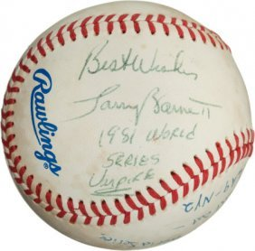 1981 World Series Baseball Used To Record Final