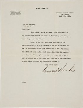 """1923 Kenesaw Mountain Landis Signed Letter To """"S"""