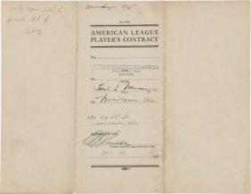 1925 Pee Wee Wanninger Signed Contract--Player W