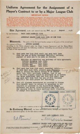 1925 New York Yankees Purchase Of Tony Lazzeri C