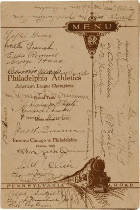1929 Philadelphia Athletics Team Signed World Se