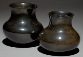 TWO SAN ILDEFONSO BLACKWARE JARS Maria Poveka C.