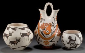 THREE ACOMA POTTERY VESSELS Dolores Lewis, Lucy