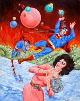 Wayne Boring Superman And Bizarros Painting Orig