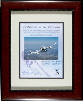 SpaceShipOne Flown Photo On Signed Certificate.