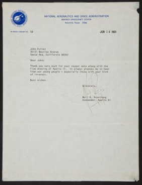 Neil Armstrong 1969-Dated Typed Letter Signed.