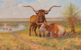 HARVEY WALLACE CAYLOR (American, 1867-1932) Oxen