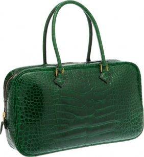 Hermes Shiny Vert Emerald Alligator Plume Elan B