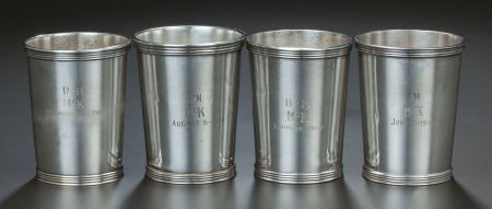65215 Four Associated American Silver Tumblers Variou