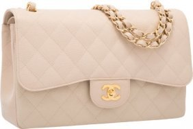 Chanel Beige Quilted Caviar Leather Jumbo Double