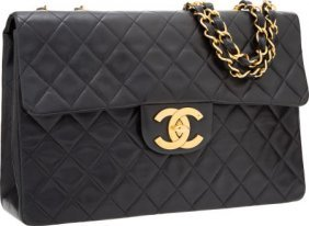 Chanel Black Quilted Lambskin Leather Maxi Singl