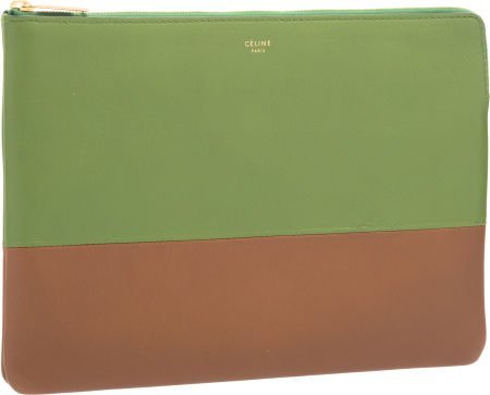 58192: Celine Green \u0026amp; Brown Leather Clutch Bag Pristine : Lot 58192