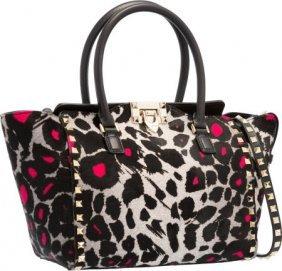 Valentino Black, Gray & Pink Leopard Ponyhair Mi
