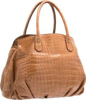 Zagliani Brown Crocodile Tote Bag Excellent Cond