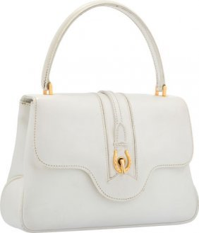 Gucci White Leather Top Handle Bag Good Conditio