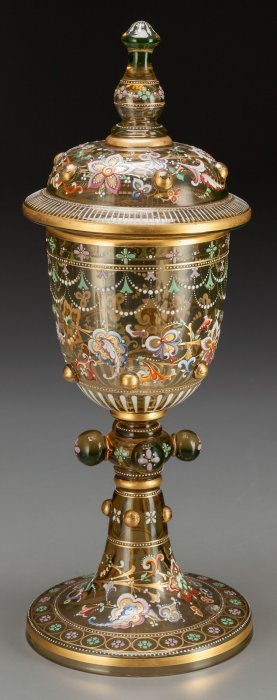 A Moser Partial Gilt And Enameled Amber Glass Po