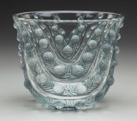 An R. Lalique Clear And Frosted Glass Vichy Vase
