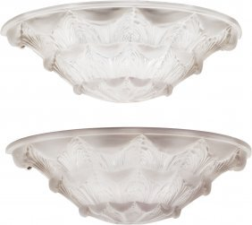 A Pair Of R. Lalique Frosted Glass Gaillon Wall