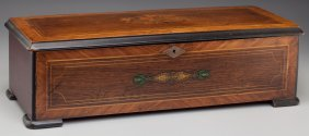 A Tremolo Zither Swiss Marquetry Music Box, Late