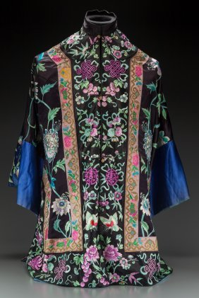 A Chinese Embroidered Silk Robe 37-1/4 Inches Lo