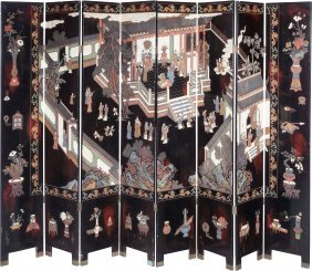 A Pair Of Chinese Lacquered Four-panel Screens 8