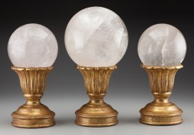 Three Rock Crystal Spheres On Giltwood Stands, 2