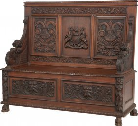 A Renaissance Revival Carved Oak Bench, Early 20