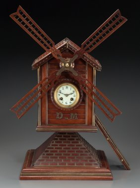 A Continental Carved Wood And Brass Windmill-for