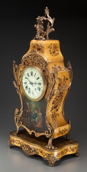 A Louis Xv-style Vernis Martin Bracket Clock, La