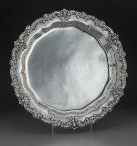 An American Round Silver Tray, Circa 1950 Marks: